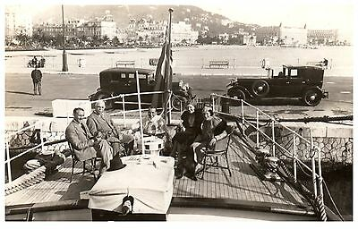Postcard English Group on Luxury Yacht Cannes France Posted to India 1920 1