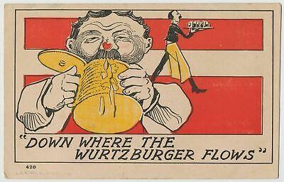 """Down Where The Wurtzburger Flows"" Beer Drinking Vintage Postcard c1905"