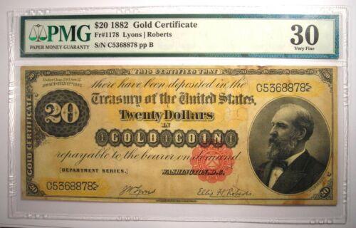 1882 $20 Gold Certificate FR-1178 Note Bill - Certified PMG 30 (Very Fine)