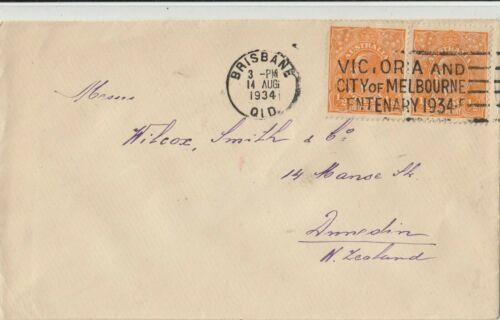 Stamp 1/2d KGV pair on cover 1934 Melbourne Victoria Centenary slogan postmark