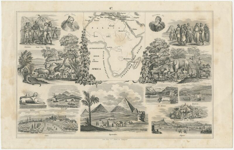 Antique Map and multiple Views of Africa by Schach (c.1845)
