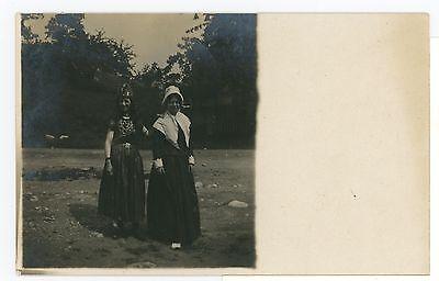 Girls in Costumes RPPC Halloween? Egyptian & Pilgrim? Theater? Photo 1910s](Halloween Costumes 1910)