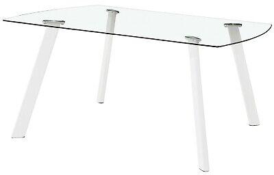 Mesa fija cristal transparente comedor salon patas blancas moderno 120x80x76