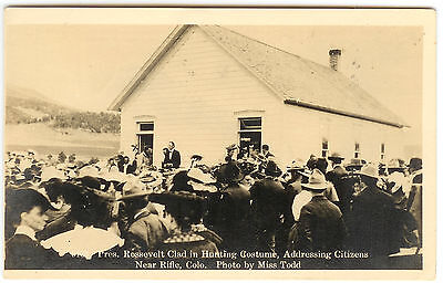 Pres. Teddy Roosevelt Clad in Hunting Costume Near Rifle, CO Postcard (Teddy Roosevelt Costume)