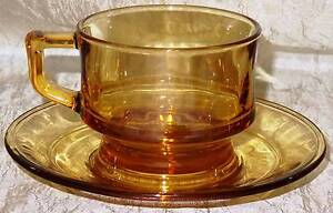4 Vintage retro Yellow Amber Glass Cup and Saucers Tea Coffee Set South Windsor Hawkesbury Area Preview