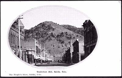 VINTAGE 1900'S TENDERFOOT HILL STREET VIEW SALIDA COLORADO OLD LITHO POSTCARD segunda mano  Embacar hacia Argentina