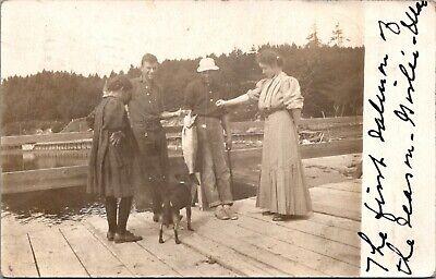 Postcard Salem, OR 1907 Salmon Fishing Dock, Real Photo Men Woman Child Dog RPPC