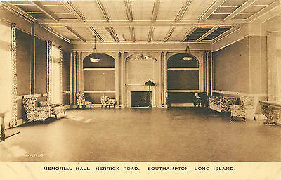 SOUTHAMPTON, MEMORIAL HALL, LONG ISLAND, NEW YORK, VINTAGE POSTCARD
