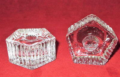 Two Glass Mini Taper Candle Holders Colonial Candles Pentagon Shaped