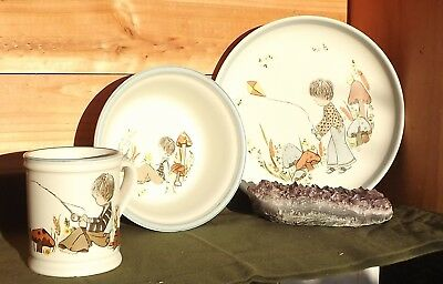 3pc Vintage Denby DREAM WEAVERS Children's Stoneware Dishes: Cup, Bowl, Plate - Dream Weavers