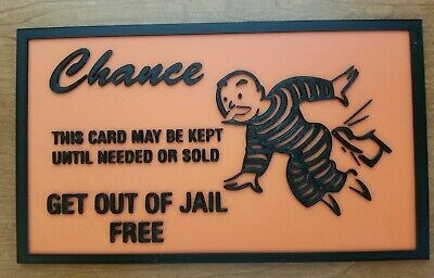 Get Out of Jail Free Card (3d printed Monopoly wall logo) for sale  Shipping to India