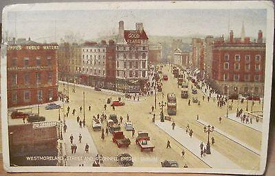 Irish Postcard WESTMORELAND STREET O'Connell Bridge Dublin Ireland 1947 Valentin