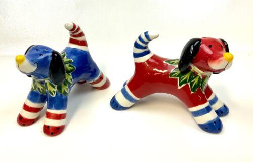 BlueSky ClayWorks Red & Blue Dogs Ceramic Salt & Pepper Shakers Heather Goldminc