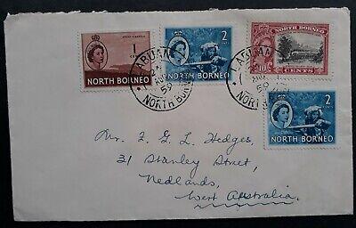 RARE 1959 North Borneo Cover ties 4 stamps canc Labuan to Australia