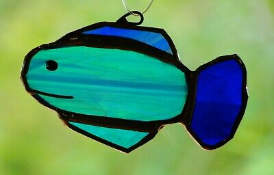 Tropical Fish Stained Glass (BLUE TROPICAL FISH Stained Glass SUNCATCHER Ready To Hang CHILDRENS KIDS GIFTS)