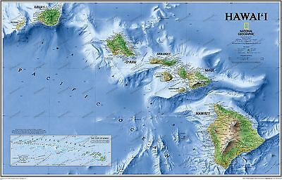 NEW National Geographic Hawaii HI Wall Map 34.75