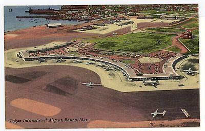 Logan Airport Vintage Boston Linen Postcard Transportation Tichnor 1940S