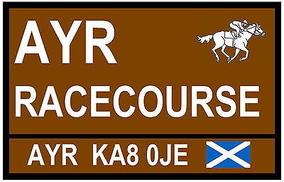 HORSE RACING - ROAD SIGNS (AYR) - SOUVENIR NOVELTY FRIDGE MAGNET - GIFT - NEW