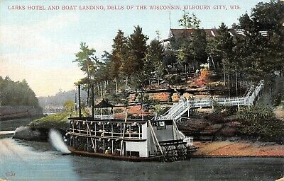 Kilbourn City WI~Wisconsin Dells~Larks Hotel & Boat Landing~Paddle Wheeler~c1910 for sale  Shipping to Canada