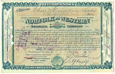 1880's Norfolk & Western Railroad Company Stock Certificate