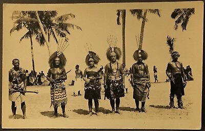RPPC Real Photo Postcard ~ Africa ~ Dancers In Native Costumes On Beach