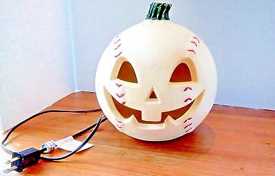 Halloween Jack-O-Lantern Baseball Vintage White Electric Lighted Hard to Find