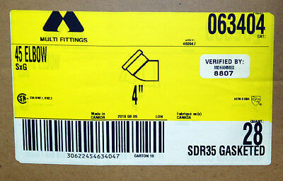 4 45 Elbow Gasketed Sewer Drain Sdr 35 Pvc Sxg Multi Fittings 063404 Single