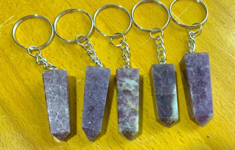 Bulk Wholesale Lot Of 5 Pieces - Lepidolite Crystal Point Keychain