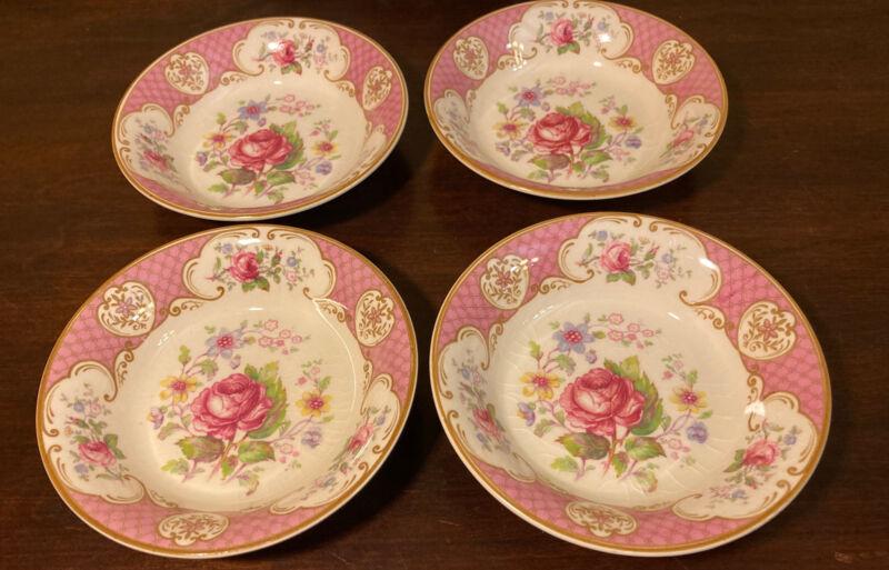 "4 Vintage Myott Staffordshire Rose Berry Bowls 5"""