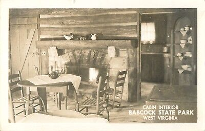 Cabin Interior, Babcock State Park, West Virginia WV RPPC 1957, used for sale  USA