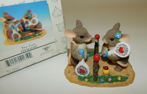 Fitz and Floyd Charming Tails Two Love Sweetheart Mice Playing Tennis MIB