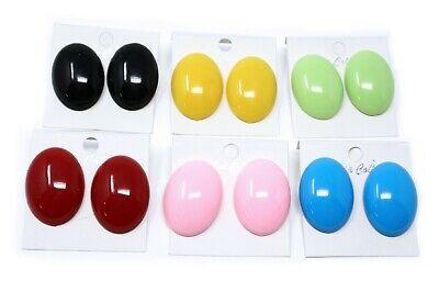 80s Oval Button Earrings - 1.5