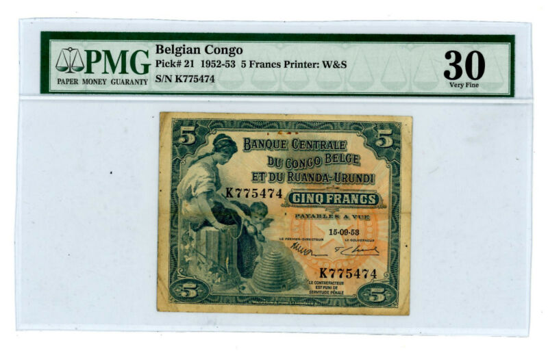 "BELGIAN  CONGO  P-21   5  FRANCS  (15.09.1953)  *VF*  PMG  ""30"" SCARCE NOTE"