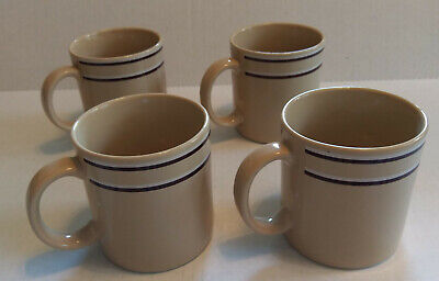 Vintage Retro JMP Chromatics Stoneware Coffee Mugs Cups (4) Beige Brown Japan  ()