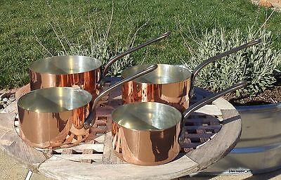 Set of 4 Garanti Villedieu Copper Saucepans, 2 mm, Made in France