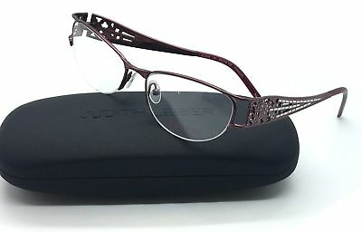 Judith Leiber Burgundy Eyeglasses JL 1628 09 52 mm Shiny Titanium Japan