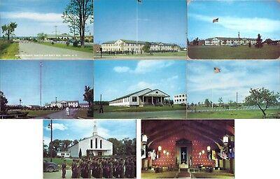 1950s Geneva NY Sampson Air Force Base Min Gate HQ Post Office Church Postcards