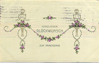 Namenstag, Blumen, Prägekarte, um 1910