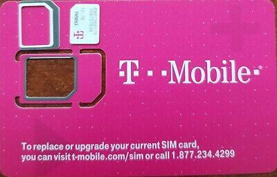 A New T-Mobile 4G NANO Sim Card, Unactivated,  TRIPLE CUT SIMCARD 3 IN 1