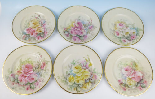 6 Hutschenreuther Hand Painted Roses Dinner Service Plates Pink Gold Porcelain