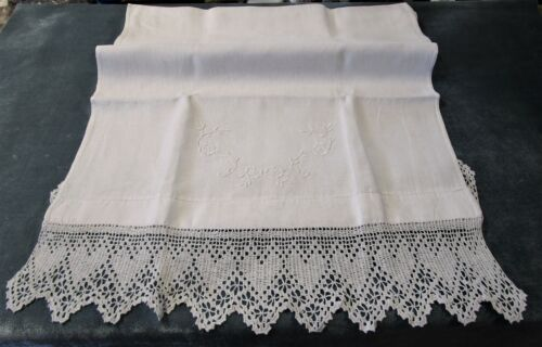 Antique Linen Table Runner Filet Crochet HEARTS Embroidered Florals Lovely!