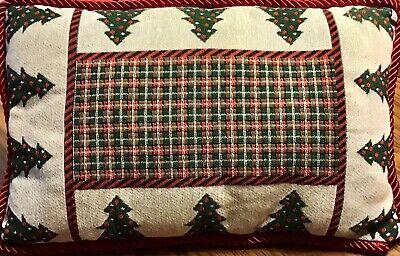 "Christmas Tapestry Throw Pillow Trees Red Green Plaid Cord Trim 18"" Velvet Back"