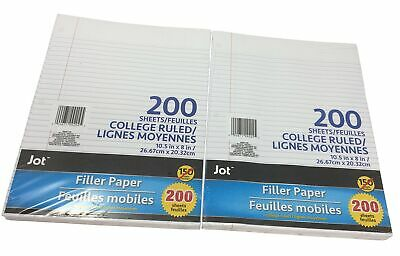 Jot Loose-leaf Ruled Filler Notebook Paper 400 Sheets College Ruled