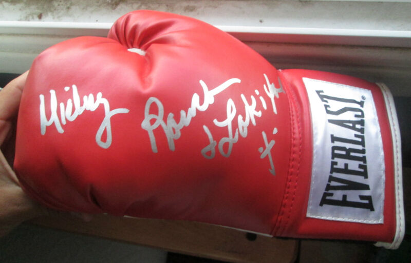 Mickey Rourke Signed Everlast Boxing Glove FULL NAME inscribed LOKI exact proof