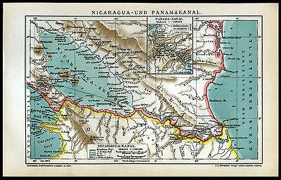 Orig. lithographische Landkarten 1904 Nicaragua Panama-Kanal Schautafel