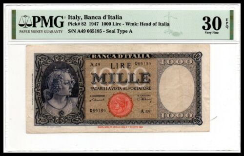 Italy VF Note 1000 Lire 1947 P-82 PMG 30 Very Fine