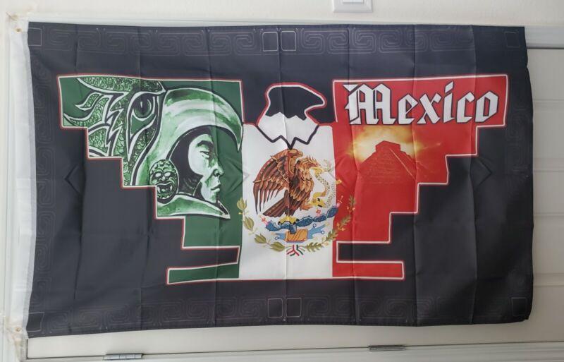 Huelga Bird 3X5 Flag Mexico Chicano Farmero Aztec Pyramid Warrior