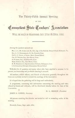 Annual Meeting of the Connecticut State Teacher Association Notice  -  1881