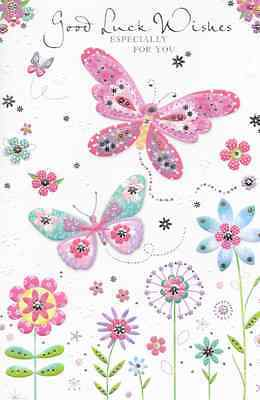 Good Luck Wishes Cards - GOOD LUCK WISHES CARD,TOP QUALITY, EMBOSSED BUTTERFLY THEME (N1)
