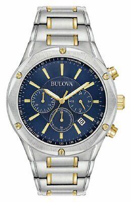 Bulova 98B284 Men's Two Tone Steel Blue Dial Bracelet Chronograph Watch - Silver